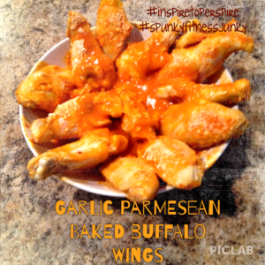 Garlic Parmesean Baked Buffalo Wings with title and tags